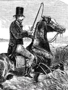 Detail: Raising his horse's head..by Harrison Weir