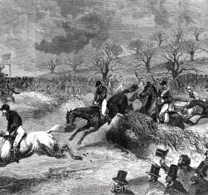 1860 Northampton Steeplechase, Grand Military Gold Cup: The Last Leap. by Harrison Weir