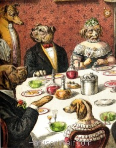 Detail: The Dogs Dinner Party by Harrison Weir