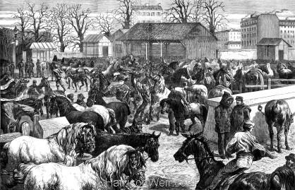 1871 The Paris Horsemarket by Harrison Weir