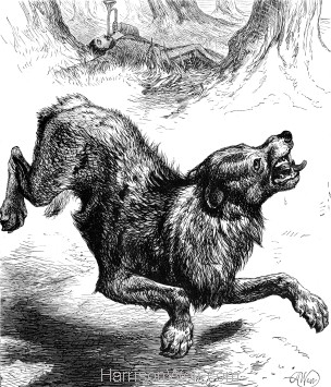 1878 Hyena frightened by a Trumpeter