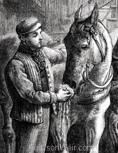 Detail: 1886 Refreshing The Tram Car Horses by Harrison Weir