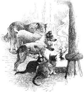 1891 Old Friends around the Fire, by Harrison Weir