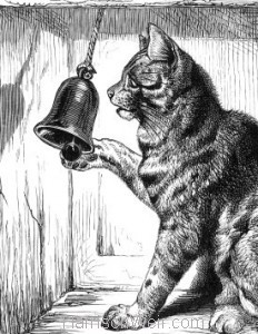 Detail: 1871 Cat Ringing Door-Bell by Harrison Weir