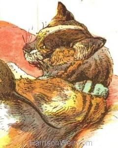 Detail: 1885 Cat raising Rats & Kittens by Harrison Weir