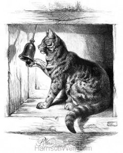 1871 Cat Ringing Door-Bell drawn by Harrison Weir